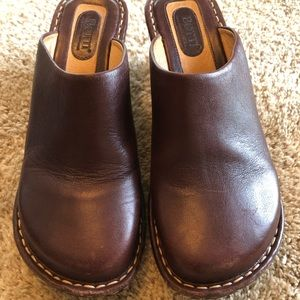 Born Women's Brown Leather Clog Wedge Mule Sz 8MW